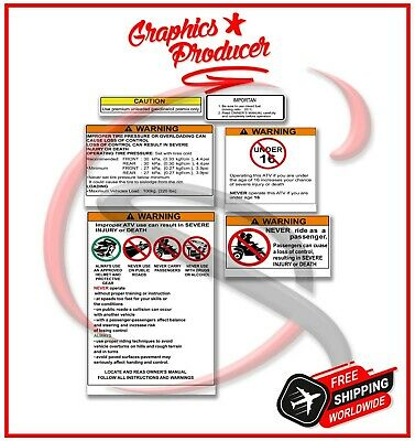 Yamaha Banshee Warning Symbols Decals Full  Design Reproduction For OEM Fenders