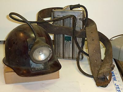 Edison Model P Electric Miners Lamp With Hard Hat And Leather Belt