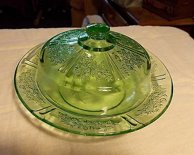 Green Sharon Cabbage Rose Depression Glass Butter Dish & Cover