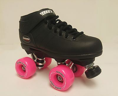 Sure-Grip Carrera Black Quad Outdoor Roller Skate Package- Size M4/ L5