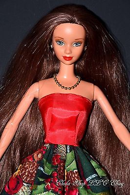 STUNNING BRUNETTE LONG HAIR Classic Christmas OOAK HOLIDAY BARBIE DOLL GIFT