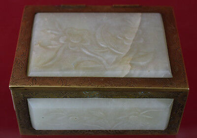 Beautiful Antique Chinese Bronze Box with white Jade Carving Plaque