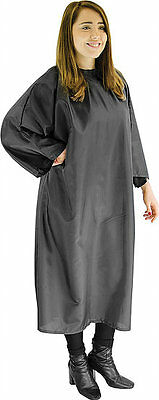 Pro Dmi Redspot Poly Cape Gown Velcro Black Perfect For Hairdressers/barbers Use