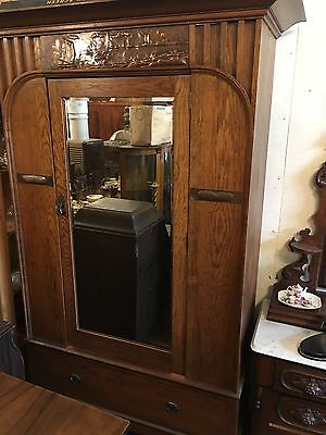 Large Antique Mission Oak arts and crafts wardrobe Solid Old Original  Nice