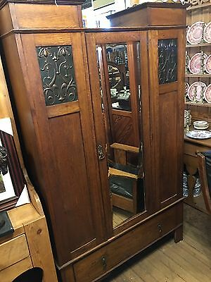 Very Unusual Antique Mission Oak arts and crafts wardrobe Old Original Nice