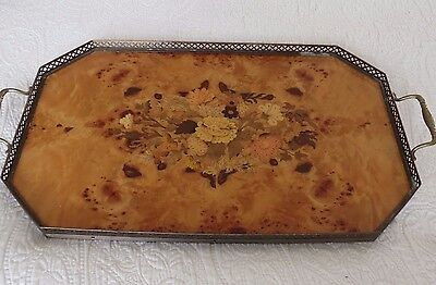"Vintage Italian Floral Wooden Inlay Tray With Brass Handles 19""x12"""