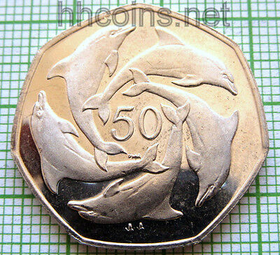 Gibraltar 2000 50 Pence, Five Dolphins, 7-Sided, Bu