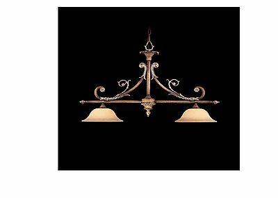 Tuscan Style ceiling light fixture with old world patina and Scava Glass