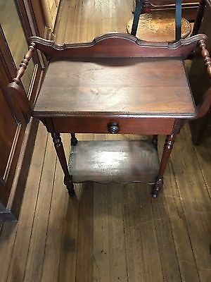 antique Victorian WALNUT WASHSTAND TABLE Towel Bars 1 Drawer Stand wash