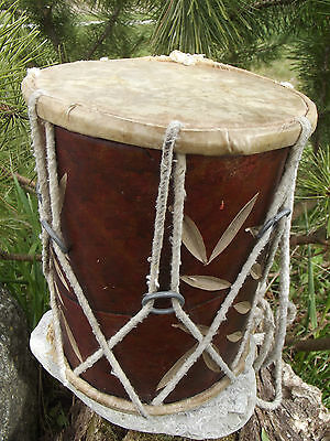 ANTIQUE GENUINE SKIN WOODEN DRUM musical instrument