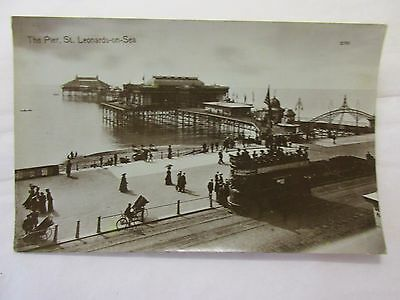 old rp postcard the pier  st leonards on sea  (unposted)