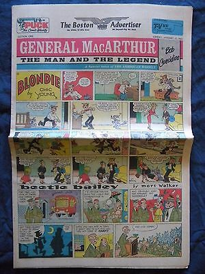 Vintage January 27 1963 Boston Advertiser Newspaper Comic Pages 2 Sections