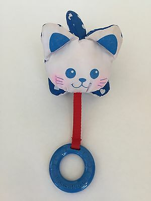 Fisher Price Puffalumps Kitten Puppy Bunny 1990 Rattle Teether Blue White HTF