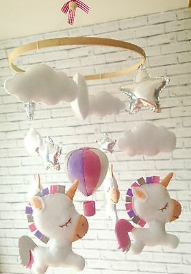 Baby mobile- hanging cot crib nursery mobile- hot air balloon Unicorns decor