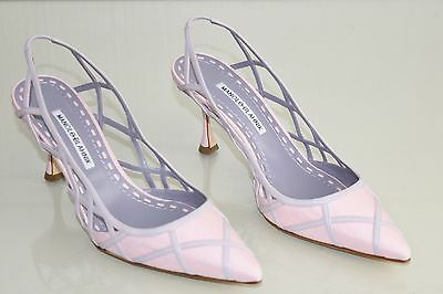 98f7f007a415b2  1045 NEW Manolo Blahnik ENATOS Lattice Pink linen Lavender Shoes 39.5 40.5