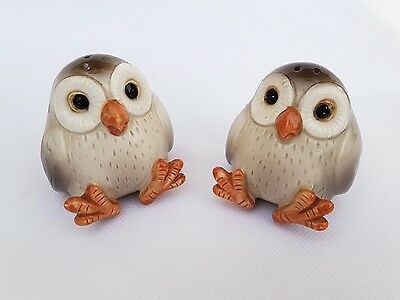 fitz and floyd owl salt and pepper pots vintage old used table wear collectable