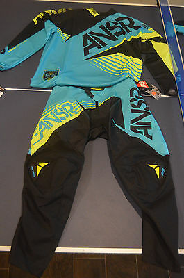ANSWER RACING A16 SYNC JSY AQUA BLACK YELLOW Adult 30 pant medium jersey