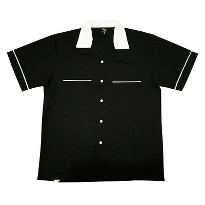 Black Retro Tenpin Bowling Shirt - Small to 3XL