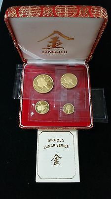 1986 Singapore Year of the Tiger Singold 4 Coin Gold Set With Original Box .90oz