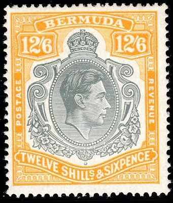 Bermuda 1947 12s6d grey & yellow (ord paper) Lightly Mounted MINT SG 120d