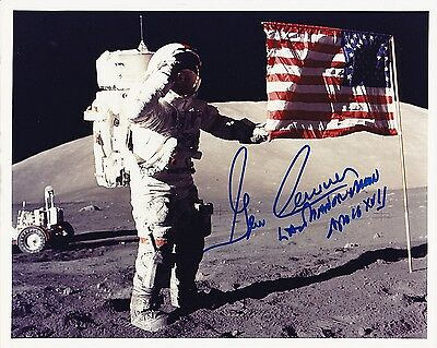 Apollo 17 Astronaut Gene Cernan  8x10 Signed Kodak Print of NASA