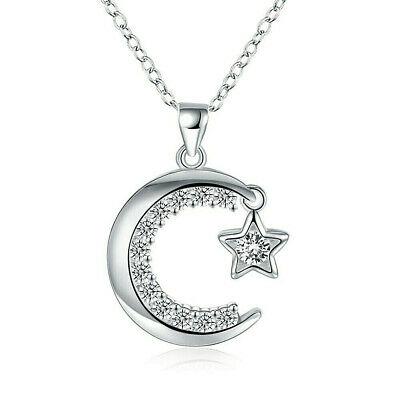 925 Sterling Silver Moon And Star Pendant Necklace  CZ Stones FREE 1-DAY SHIP