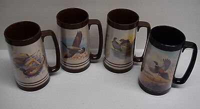 Lot of 4 Vtg Bird Hunting Thermo Serv Plastic Insulated Coffee Beer Mugs Steins