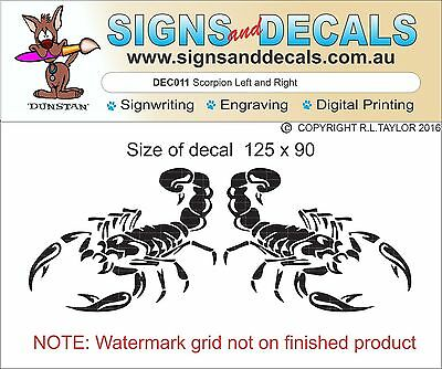 Decal cut from quality Vinyl Scorpion 1 left 1 right in asstd colours 125 x 90mm