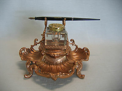 Antique circa 1900 Art Nouveau Inkwell Desk Set Copper over Cast Metal