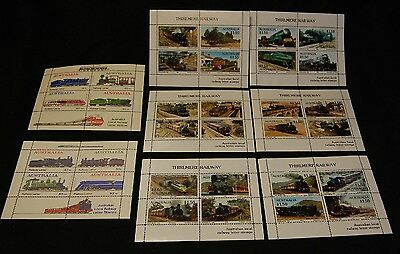 8 Sheets Australia Thirlmere Railway Letter stamps Mint unhinged set 1985 86 87