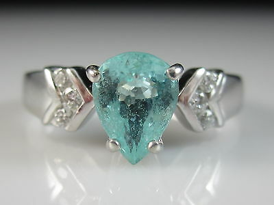 18K Paraiba Tourmaline Diamond Ring White Gold Pear Tear Drop Size 6.5