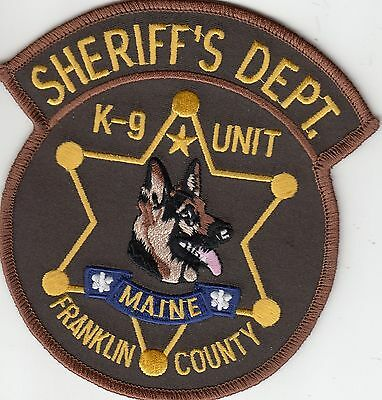 Franklin County Sheriff's Department K-9 Unit Maine Me Police Patch Canine Dog
