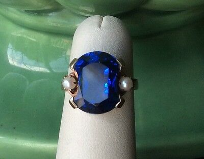 Vintage10k Yellow Gold Fantasy Cut Blue Sapphire with Pearl Accent Ring
