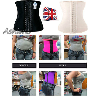 UK Waist Trainer Shaper Tummy Girdle Corsets Belly Belt Sportwear Cincher Latex