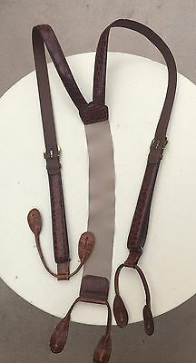 Vintage Torino Brown Textured Leather Suspenders Steampunk Retro