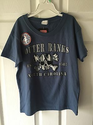 Outer Banks NC Blue Skull Crossbones Camo Shirt Size 7 8 NEW Boys Youth