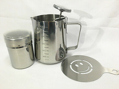 600ml Stainless Steel Milk Jug + Thermometer Cocoa Shaker Coffee Art Stencil