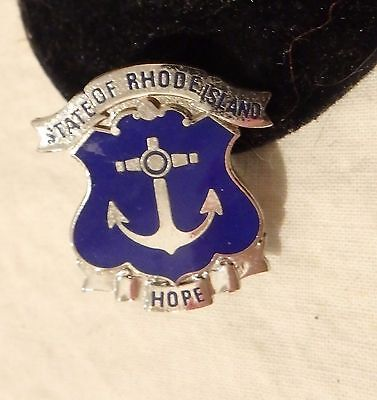 VINTAGE State of Rhode Island Anchor Hope Lapel Pin Tack Silver tone Blue Enamel