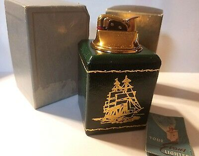 1954 Green Leather Evans Table Lighter Music Box Gold Embossed Sailboat Working