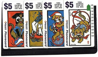 Australia 1994 Year Of The Dog Set X 4 Mint Unused Magnetic Phonecards