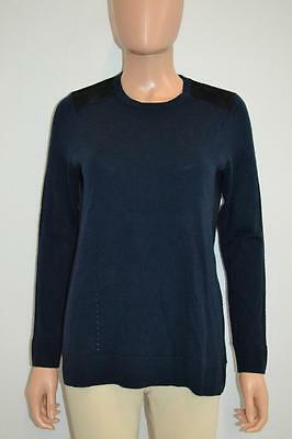 RAG & BONE Navy WoolBlack Suede Patch Sweater, Sz S