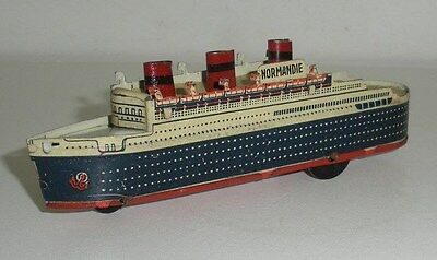 RARE,French Tin Penny Toy, Normandie Oceanliner,Pencil Sharpener