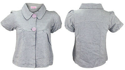 New Girls Plain Collar Fully Lined Button Fastening Blouse Cardigan Winter Top