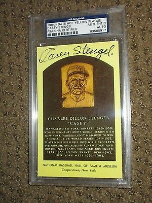 Casey Stengel Signed Psa/dna Yellow Hof Plaque Authentic Autograph Slabbed