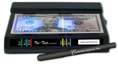 OpenBox Dri Mark Products Tri-Test Ultraviolet Counterfeit Detection System, Bla