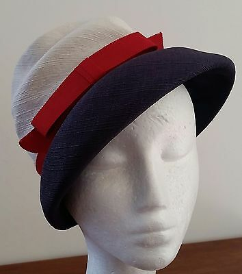 Vintage circa 1960s A Towner Hat CREAM BLUE RED Fabric Cloche Day Hat