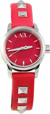Armani Exchange Pink Dial Leather Band Ladies Watch AX6022