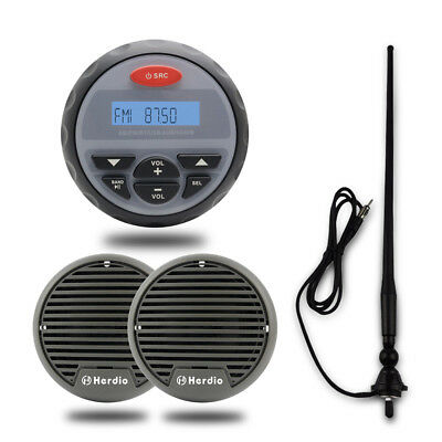 "Outdoor Marine Waterproof Bluetooth Player+3"" Boat Speakers+Mast FM AM Antenna"