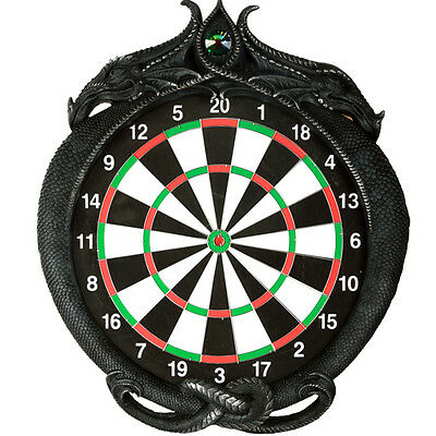 "Medieval Dungeon Crystal Jade Dual Dragon Dart Board Wall Sculpture 20.5""H Decor"