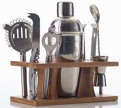 Stock Harbor 9 Piece Stainless Steel Bartender Set with Bamboo Base Bar Tool Set